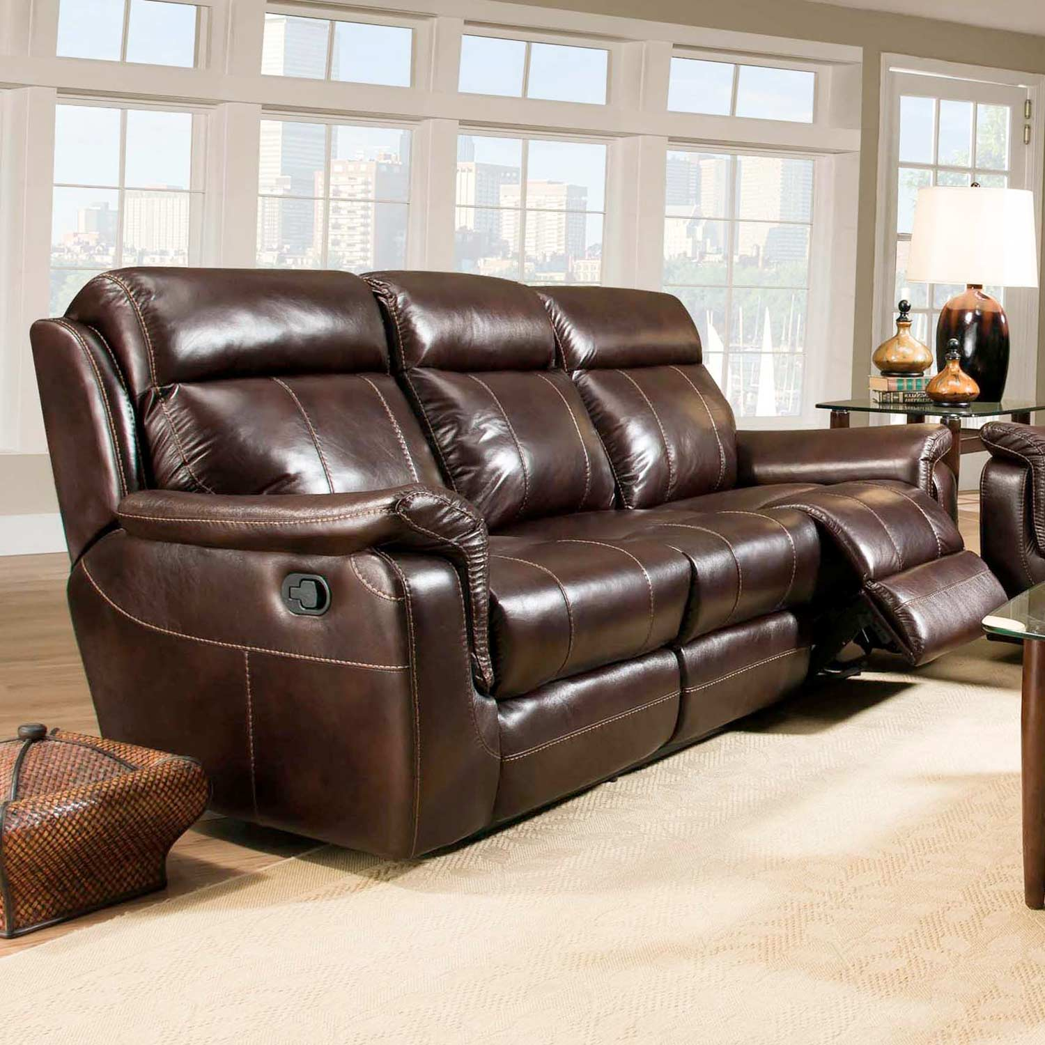 Sequoia Recliner Sofa - Contrast Stitching, Lowey Tobacco