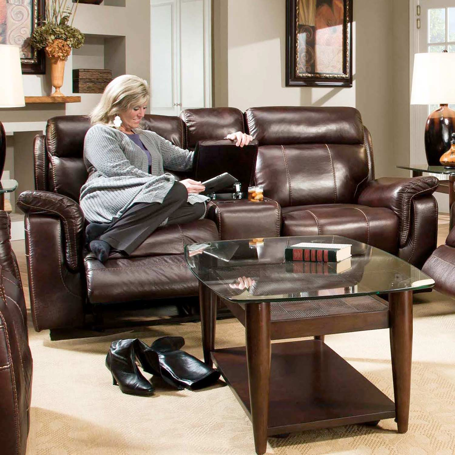 Sequoia Recliner Loveseat - Contrast Stitching, Lowey Tobacco