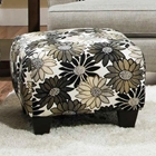Daisy Floral Accent Ottoman - Springfever Stone Fabric