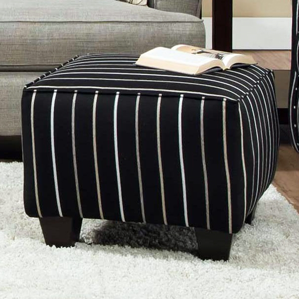 Daisy Striped Accent Ottoman - Ellington Ebony Fabric