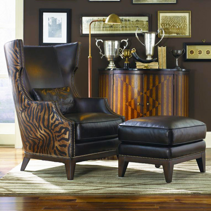 Fort Stockton Leather Accent Chair & Ottoman - Serengeti Antique