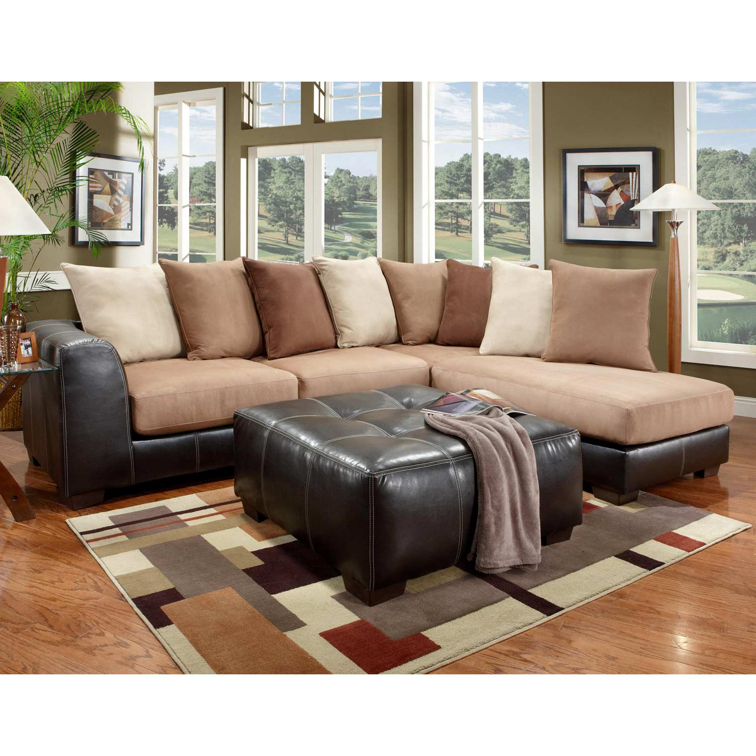 Landon Sectional Sofa & Chaise - Laredo Mocha
