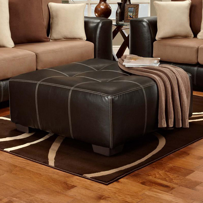 Landon Square Tufted Ottoman - Brandon Brown Upholstery