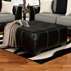 Landon Square Tufted Ottoman - Taos Black Upholstery