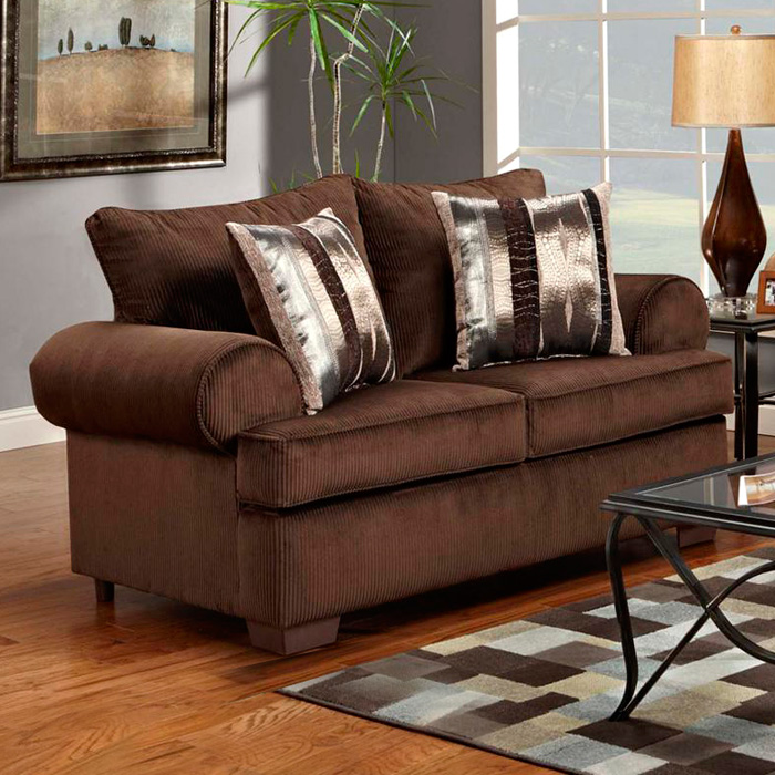Wyatt Round Arm Loveseat - Marshall Cocoa Fabric