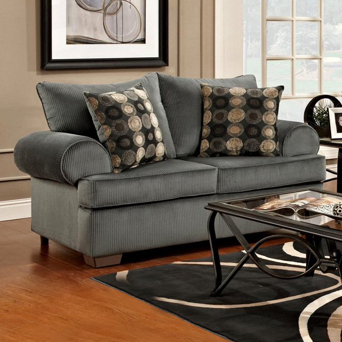 Wyatt Round Arm Loveseat - Marshall Steel Fabric