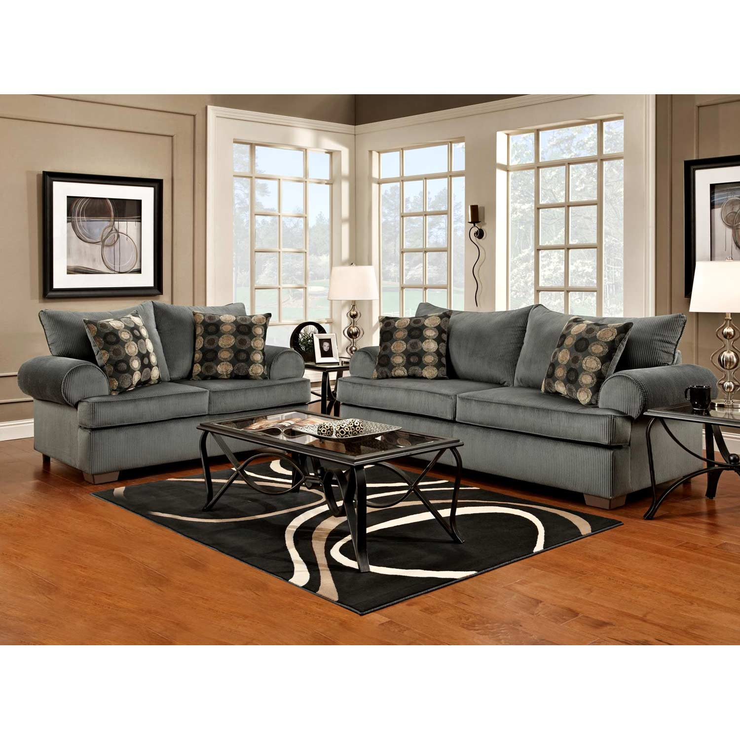 Wyatt Round Arm Sofa - Marshall Steel Fabric - CHF-6403-MS
