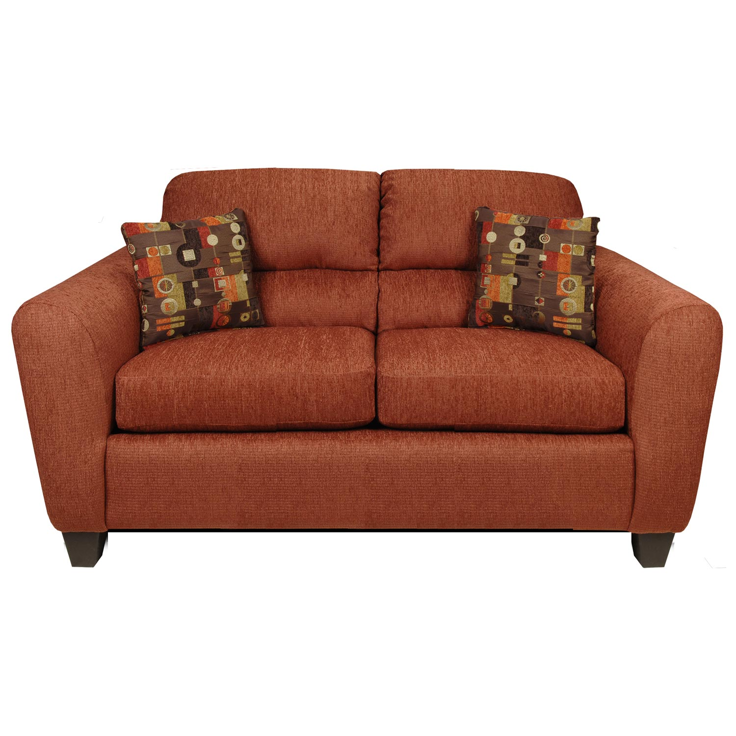 Linda Loveseat - Bustle Back, Dream Terra Cotta Fabric