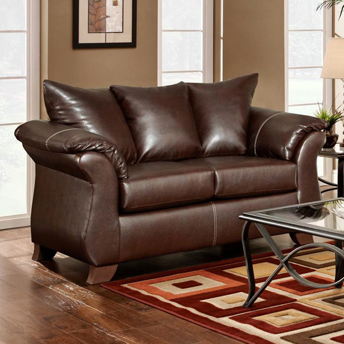 Payton Pillow Back Loveseat - Taos Mahogany Leather
