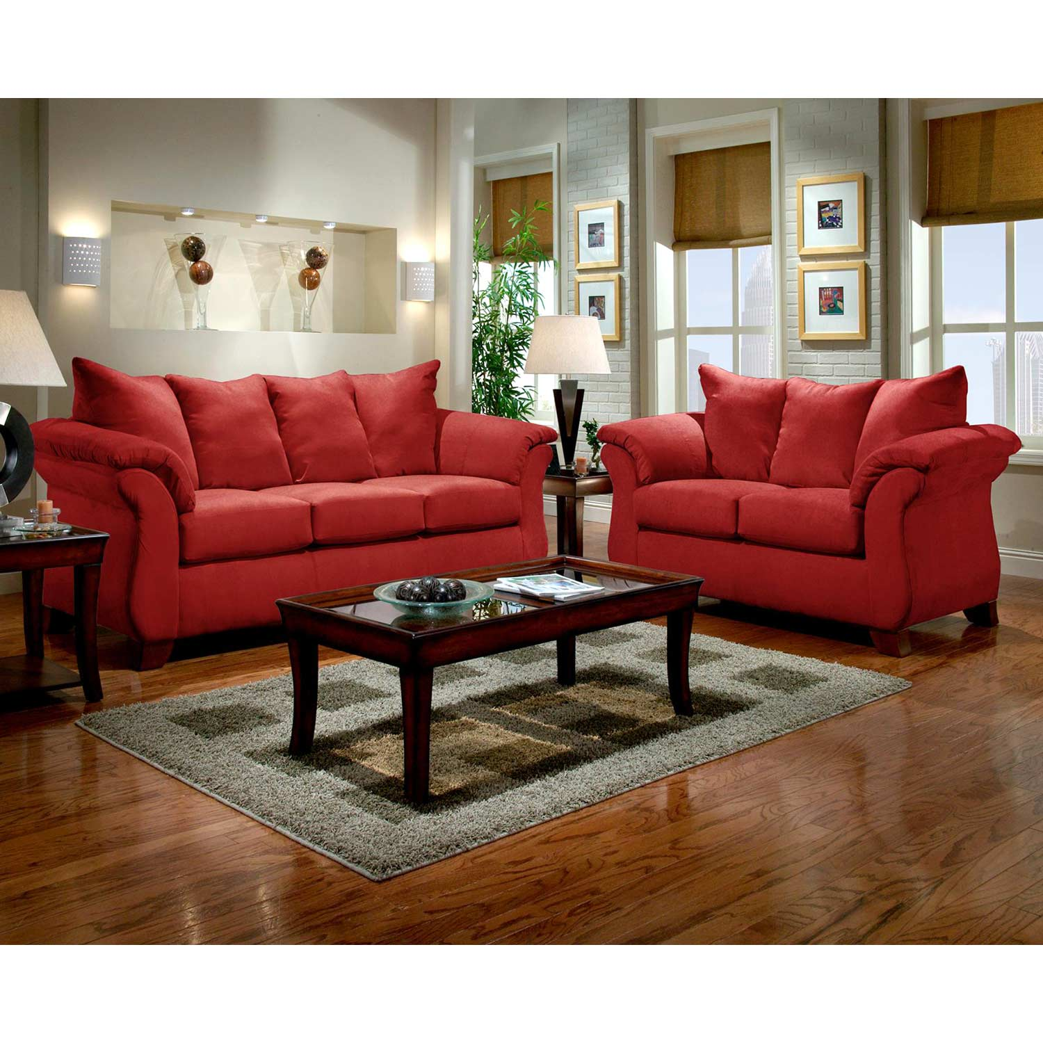 Payton Pillow Back Loveseat - Red Brick Microfiber - CHF-6702-RB