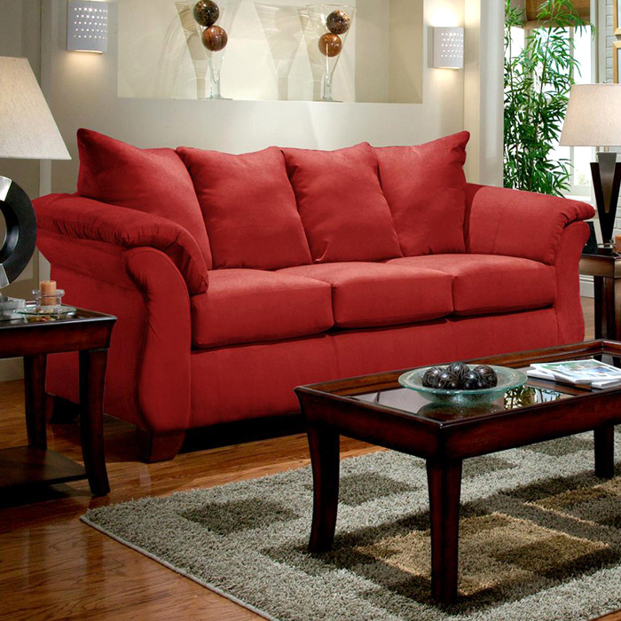 Payton Pillow Back Sofa - Red Brick Microfiber