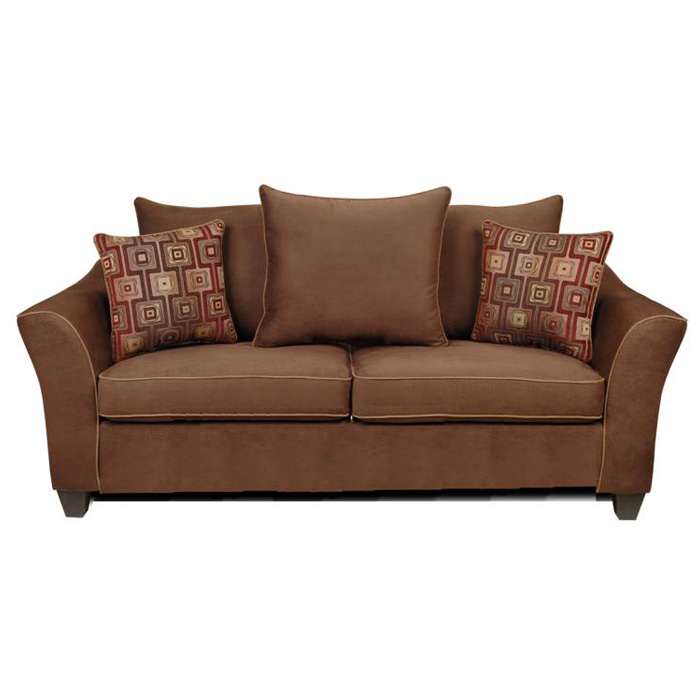 Kendra Pillow Back Sofa - Victory Chocolate Fabric