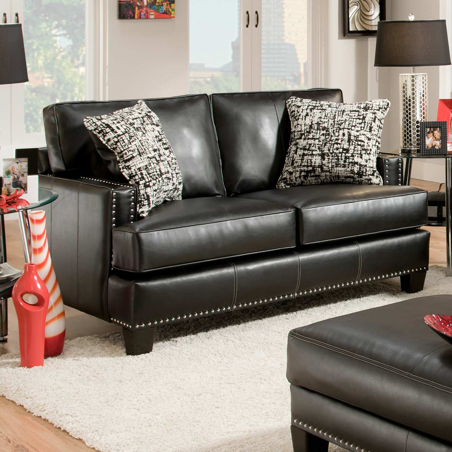 Kimberly Loveseat - Nail Heads, Apache Black Leather