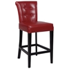 Galatea 30'' Wood Bar Stool - Red Leather, Button Tufted