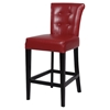 Galatea 26'' Wood Counter Stool - Red Leather, Button Tufted