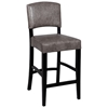 Manix 30'' Modern Bar Stool - Gray Leather, Black