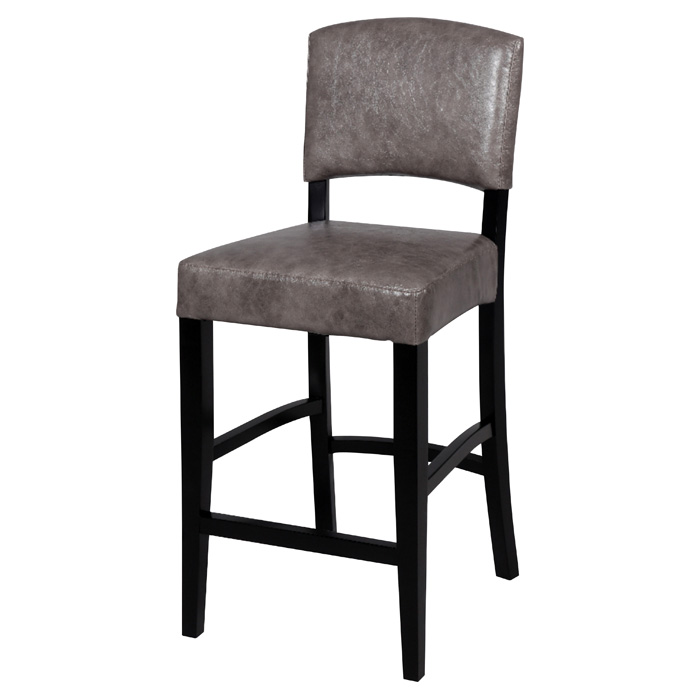 Manix 26'' Modern Counter Stool - Gray Leather, Black