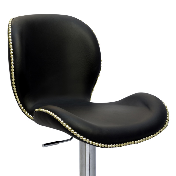 Elvis Adjustable Height Stool - Black, Chrome, Gold Nailheads - CI-0315-AS