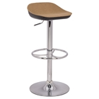 Backless Bar Stool - Adjustable, Camel Seat, Black and Chrome