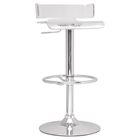 Pneumatic Gas Lift Adjustable Height Bar Stool - Swivel, Clear, Chrome