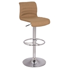 Pneumatic Gas Lift Bar Stool - Stitched Back, Camel, Chrome