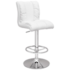 Eponine Swivel Stool - Adjustable Height, Chrome, White