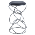 Interlocking Multi-Ring Bar Stool - Black Seat, Brushed Stainless Steel