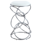 Interlocking Multi-Ring Counter Stool - White, Brushed Stainless Steel
