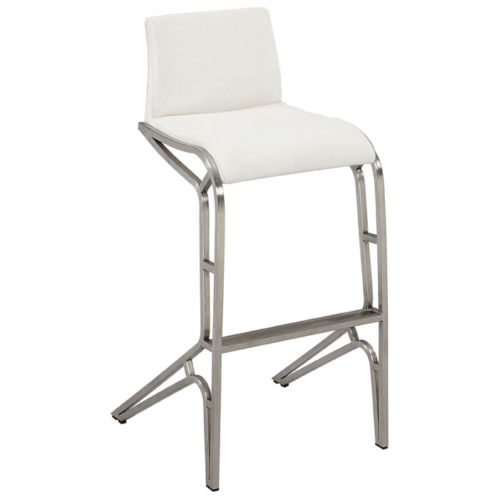 Alodia Modern Bar Stool with White Back and Seat