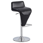Adjustment Height Stool - Low Back, Black Seat, Chrome