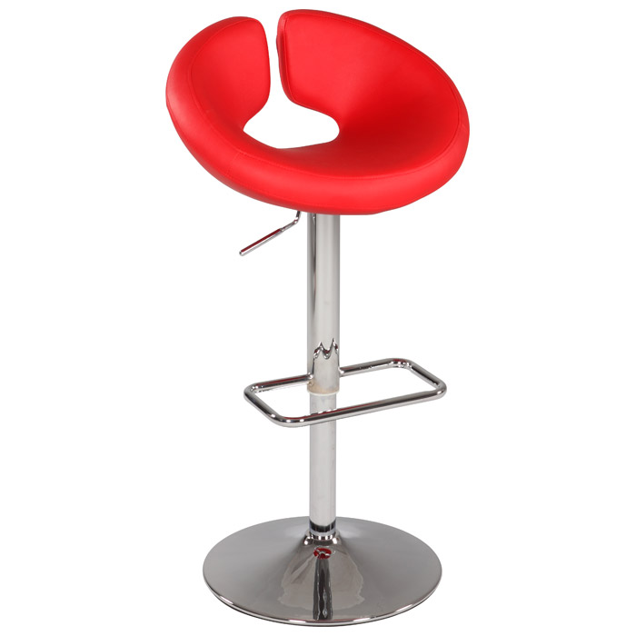 Anya Contemporary Swivel Stool - Adjustable Height, Red