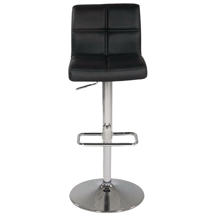 Kiara Adjustable Height Swivel Stool - Black, Chrome