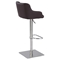 Pneumatic Gas Lift Stool - Brown, Brushed Stainless Steel Base - CI-0890-AS-BRW