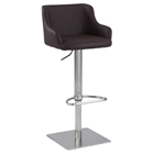 Pneumatic Gas Lift Stool - Brown, Brushed Stainless Steel Base