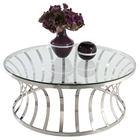 Double Ring Cocktail Table - Clear Top, Stainless Steel