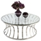 Double Ring Cocktail Table - Clear Top, Stainless Steel - CI-1156-CT