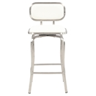 Swivel Bar Stool - White, Brushed Stainless Steel Base