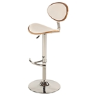 Swivel Bar Stool - White, Chrome Base, Adjustable Height