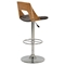 Swivel Stool - Open Back, Brown Seat, Chrome and Walnut Frame - CI-1332-AS-BRW