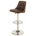 Adjustment Height Stool - Swivel, Brown Seat, Chrome and Walnut Frame