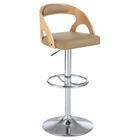 Pneumatic Stool - Round Open Back, Beige Seat, Chrome and Walnut