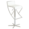Swivel Stool - White Seat, Brushed Stainless Steel Base, Armless