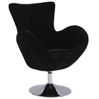 Meissa Modern Swivel Accent Chair - Chrome Base, Black Velvet