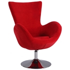 Meissa Modern Swivel Accent Chair - Chrome Base, Red Velvet