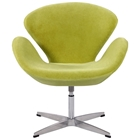 Daira Swivel Arm Chair - Light Green Velvet, Aluminum Base