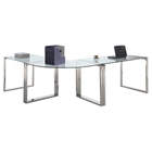 3 Pieces Computer Desk - Glass Top, Stainless Steel Base