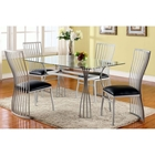 Aileen 5 Piece Dining Set with Glass Table Top