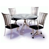 Ashtyn Round Beveled Glass with Swivel Arm Chairs