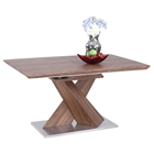 Bethany Dining Table - Extension, Walnut, Brushed Stainless Steel