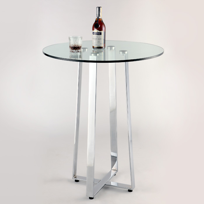 Chambers Contemporary Pub Table - Clear Glass, Chrome